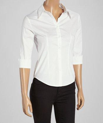 Wall Street White Three-Quarter Sleeve Button-Up - Women & Plus