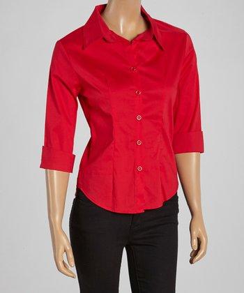 Wall Street Red Three-Quarter Sleeve Button-Up - Women & Plus