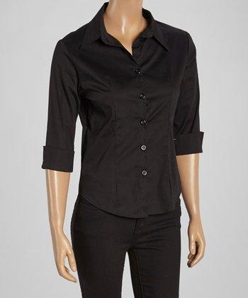 Wall Street Black Three-Quarter Sleeve Button-Up - Women & Plus