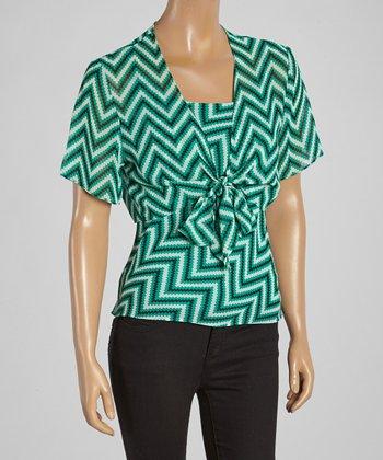 Wall Street Green Zigzag Tie Front Top - Women & Plus