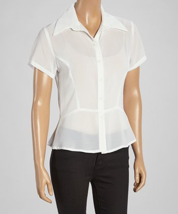 Wall Street White Short-Sleeve Button-Up - Women & Plus