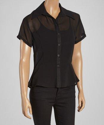 Wall Street Black Short-Sleeve Button-Up - Women & Plus