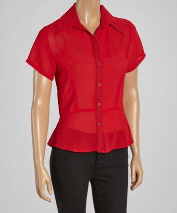 Wall Street Red Short-Sleeve Button-Up - Women & Plus
