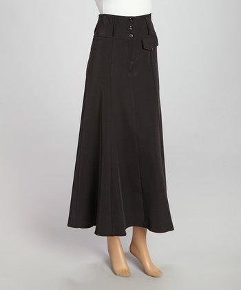 Wall Street Black Button Skirt - Women & Plus