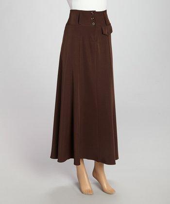 Wall Street Brown Button Skirt - Women & Plus