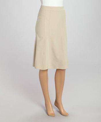 Wall Street Beige Skirt - Women & Plus