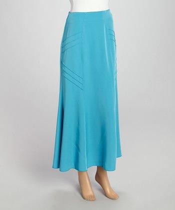 Wall Street Turquoise Maxi Skirt - Women & Plus