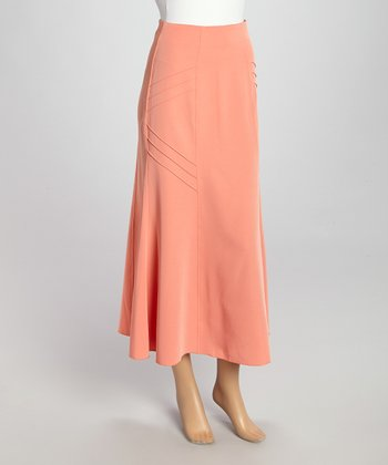 Wall Street Peach Maxi Skirt - Women & Plus