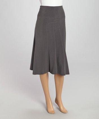 Wall Street Gray Classic Skirt - Women & Plus