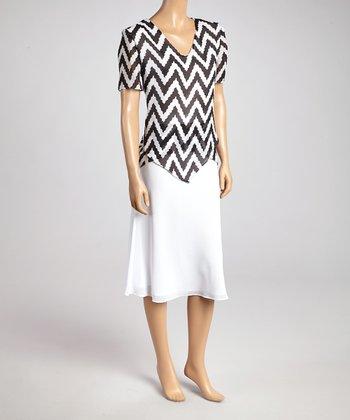 Wall Street Black & White Zigzag Top & Skirt - Women & Plus