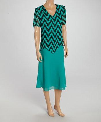 Wall Street Green & Black Zigzag Top & Skirt - Women & Plus