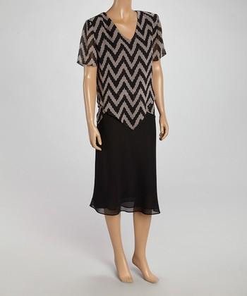 Wall Street Black & Beige Zigzag Top & Skirt - Women & Plus