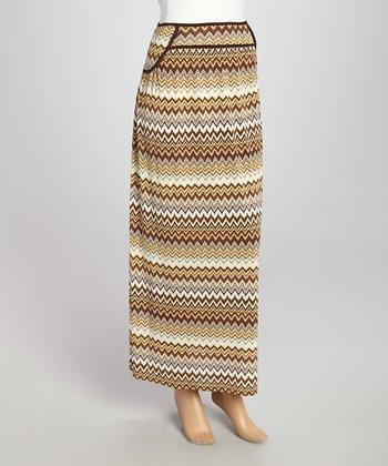 Wall Street Brown Zigzag Maxi Skirt - Women & Plus
