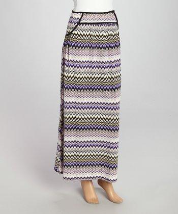 Wall Street Purple Zigzag Maxi Skirt - Women & Plus