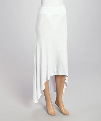 Wall Street White Hi-Low Skirt - Women & Plus