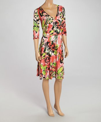 Wall Street Pink Floral Surplice Dress - Women & Plus