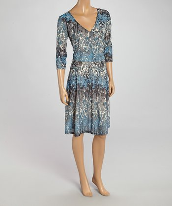 Wall Street Teal & Black Abstract Surplice Dress - Women & Plus