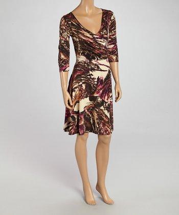 Wall Street Cream & Brown Abstract Surplice Dress - Women & Plus