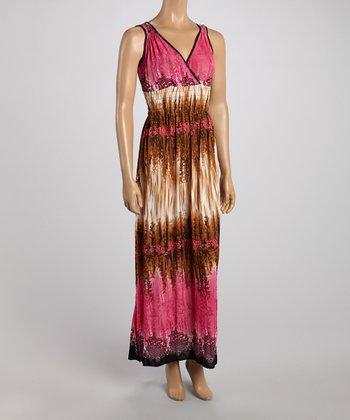 Pink & Brown Dye Surplice Maxi Dress