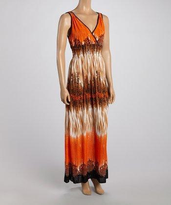 Orange & Brown Dye Surplice Maxi Dress