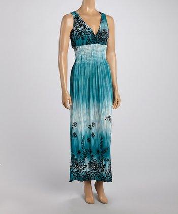 Teal Tropics Crocheted Back Maxi Dress