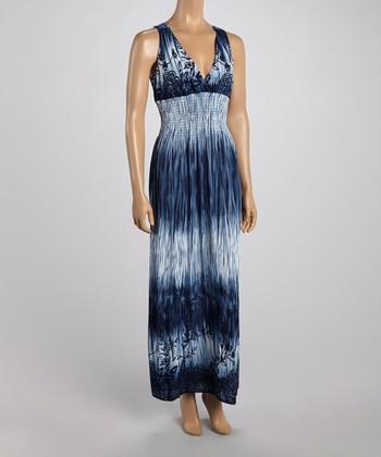 Blue Tropics Crocheted Back Maxi Dress