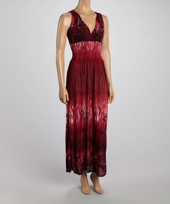 Burgundy Tropics Crocheted Back Maxi Dress