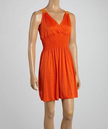 Orange Crocheted Back Surplice Dress