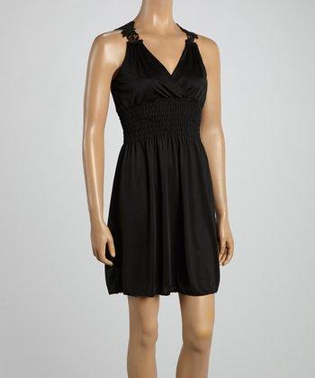Black Crocheted Back Surplice Dress