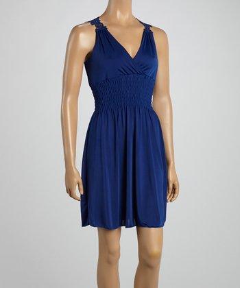 Royal Blue Crocheted Back Surplice Dress