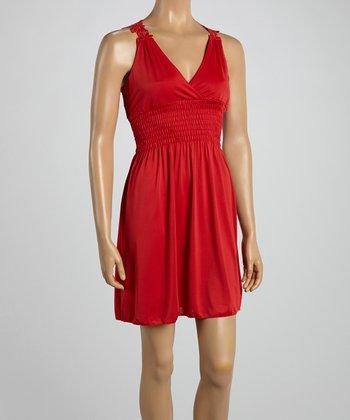 Red Crocheted Back Surplice Dress