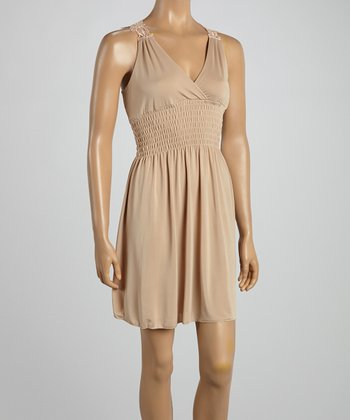 Beige Crocheted Back Surplice Dress