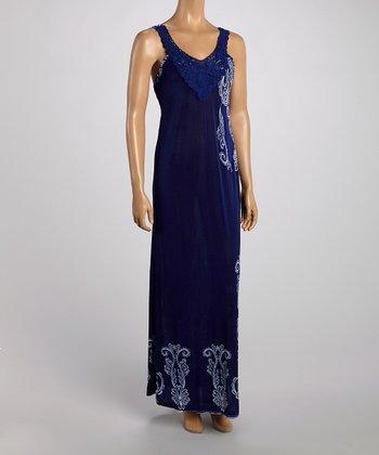 Blue Crochet Neck Maxi Dress