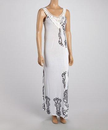 White Crochet Neck Maxi Dress