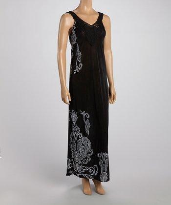 Black Crochet Neck Maxi Dress