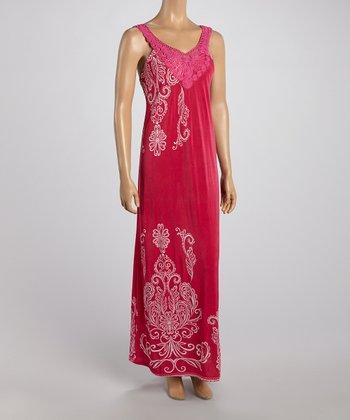 Fuchsia Crochet Neck Maxi Dress