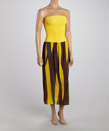Yellow Stripe Strapless Maxi Dress