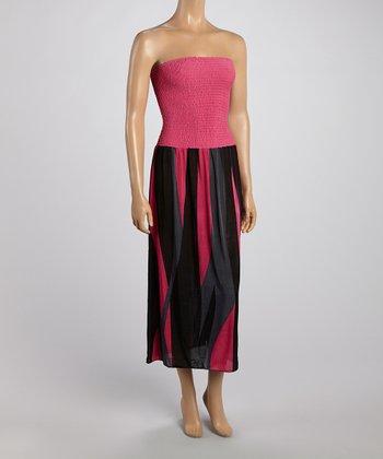 Pink Stripe Strapless Maxi Dress