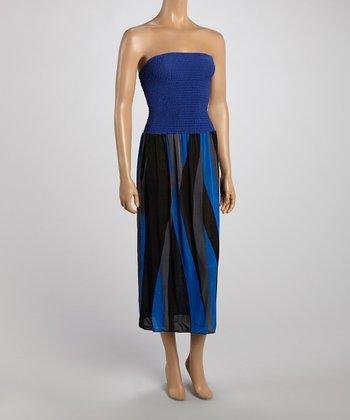 Blue Stripe Strapless Maxi Dress