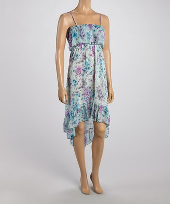 Light Blue Floral Hi-Low Ruffle Dress