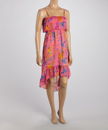 Pink Floral Hi-Low Ruffle Dress