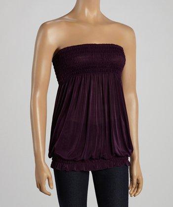 Purple Smocked Strapless Top