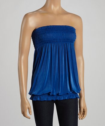 Blue Smocked Strapless Top