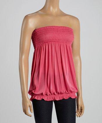 Pink Smocked Strapless Top