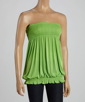 Lime Green Smocked Strapless Top