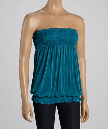 Teal Smocked Strapless Top