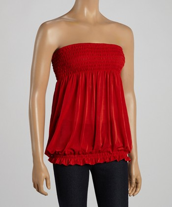Red Smocked Strapless Top