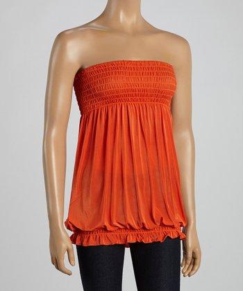 Orange Smocked Strapless Top