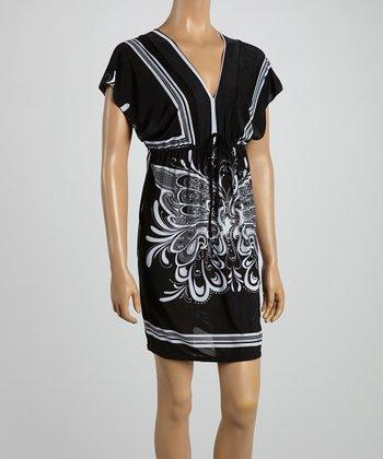 Black Butterfly Surplice Dress