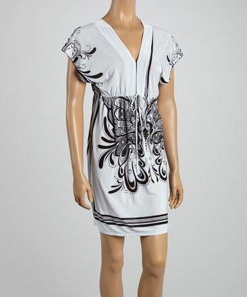 White Butterfly Surplice Dress